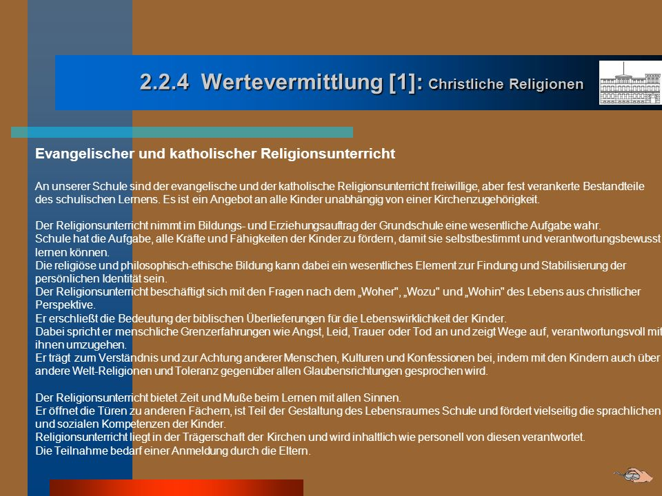 2.2.4 Wertevermittlung [1]: Christliche Religionen